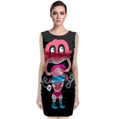 Red Cartoons Face Fun Classic Sleeveless Midi Dress