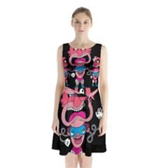 Red Cartoons Face Fun Sleeveless Chiffon Waist Tie Dress