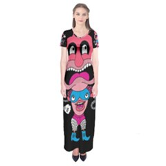 Red Cartoons Face Fun Short Sleeve Maxi Dress