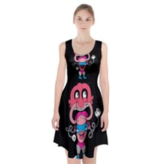 Red Cartoons Face Fun Racerback Midi Dress