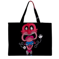 Red Cartoons Face Fun Medium Zipper Tote Bag