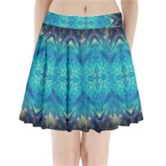 Boho Hippie Tie Dye Retro Seventies Blue Violet Pleated Mini Skirt