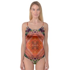 Boho Bohemian Hippie Floral Abstract Faded  Camisole Leotard