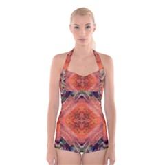 Boho Bohemian Hippie Floral Abstract Faded  Boyleg Halter Swimsuit