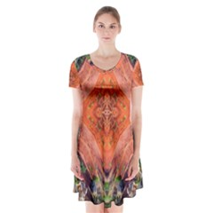 Boho Bohemian Hippie Floral Abstract Faded  Short Sleeve V-neck Flare Dress
