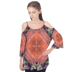Boho Bohemian Hippie Floral Abstract Faded  Flutter Tees