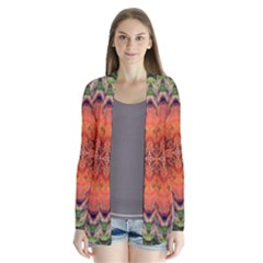 Boho Bohemian Hippie Floral Abstract Faded  Drape Collar Cardigan