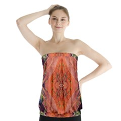 Boho Bohemian Hippie Floral Abstract Faded  Strapless Top