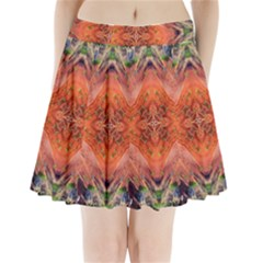 Boho Bohemian Hippie Floral Abstract Faded  Pleated Mini Skirt