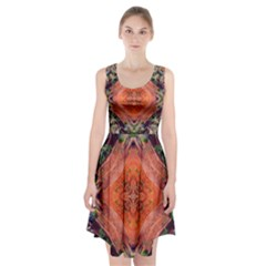 Boho Bohemian Hippie Floral Abstract Faded  Racerback Midi Dress