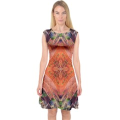 Boho Bohemian Hippie Floral Abstract Faded  Capsleeve Midi Dress