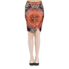 Boho Bohemian Hippie Floral Abstract Faded  Midi Wrap Pencil Skirt