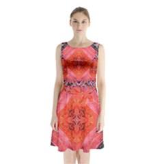 Boho Bohemian Hippie Retro Tie Dye Summer Flower Garden design Sleeveless Chiffon Waist Tie Dress