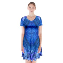 Boho Bohemian Hippie Tie Dye Cobalt Short Sleeve V-neck Flare Dress