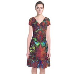 Boho Bohemian Hippie Floral Abstract Short Sleeve Front Wrap Dress