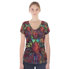 Boho Bohemian Hippie Floral Abstract Short Sleeve Front Detail Top