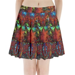 Boho Bohemian Hippie Floral Abstract Pleated Mini Skirt