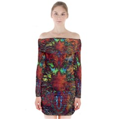 Boho Bohemian Hippie Floral Abstract Long Sleeve Off Shoulder Dress
