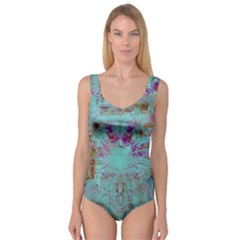 Retro Hippie Abstract Floral Blue Violet Princess Tank Leotard
