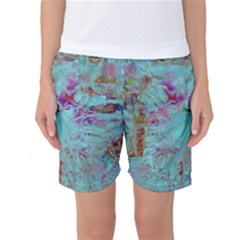 Retro Hippie Abstract Floral Blue Violet Women s Basketball Shorts