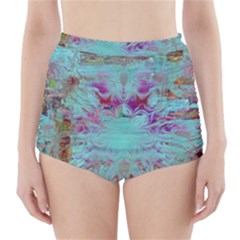 Retro Hippie Abstract Floral Blue Violet High-Waisted Bikini Bottoms