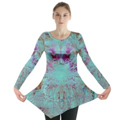 Retro Hippie Abstract Floral Blue Violet Long Sleeve Tunic