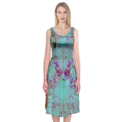 Retro Hippie Abstract Floral Blue Violet Midi Sleeveless Dress