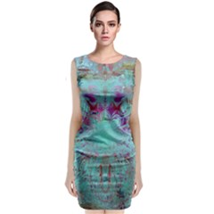 Retro Hippie Abstract Floral Blue Violet Classic Sleeveless Midi Dress