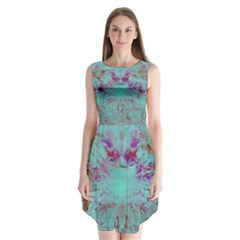 Retro Hippie Abstract Floral Blue Violet Sleeveless Chiffon Dress