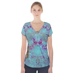 Retro Hippie Abstract Floral Blue Violet Short Sleeve Front Detail Top