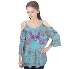 Retro Hippie Abstract Floral Blue Violet Flutter Tees