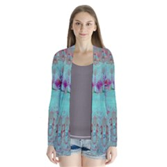 Retro Hippie Abstract Floral Blue Violet Drape Collar Cardigan