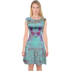 Retro Hippie Abstract Floral Blue Violet Capsleeve Midi Dress