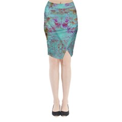 Retro Hippie Abstract Floral Blue Violet Midi Wrap Pencil Skirt