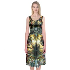 Metallic Abstract Flower Copper Patina Midi Sleeveless Dress