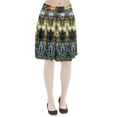 Metallic Abstract Flower Copper Patina Pleated Skirt