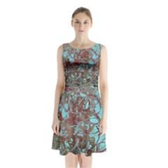Urban Graffiti Grunge Look Sleeveless Chiffon Waist Tie Dress