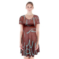 Urban Graffiti Rust Grunge Texture Background Short Sleeve V-neck Flare Dress