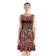 Urban Graffiti Rust Grunge Texture Background Sleeveless Chiffon Waist Tie Dress