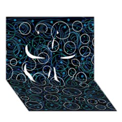 Blue abstract decor Clover 3D Greeting Card (7x5)