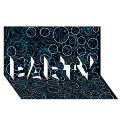 Blue abstract decor PARTY 3D Greeting Card (8x4)