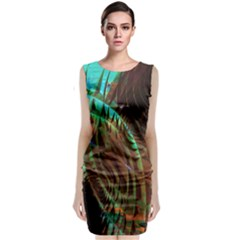 Metallic Abstract Copper Patina  Classic Sleeveless Midi Dress