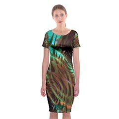 Metallic Abstract Copper Patina  Classic Short Sleeve Midi Dress