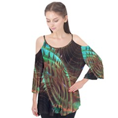 Metallic Abstract Copper Patina  Flutter Tees