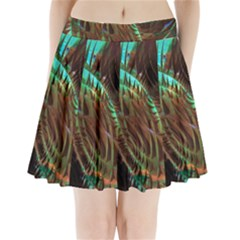 Metallic Abstract Copper Patina  Pleated Mini Skirt