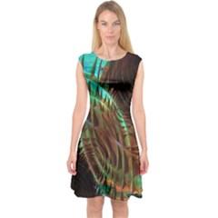 Metallic Abstract Copper Patina  Capsleeve Midi Dress