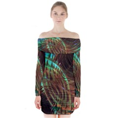 Metallic Abstract Copper Patina  Long Sleeve Off Shoulder Dress