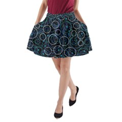 Blue abstract decor A-Line Pocket Skirt