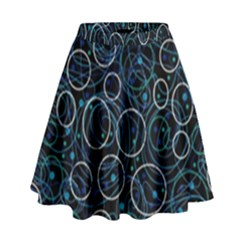 Blue abstract decor High Waist Skirt
