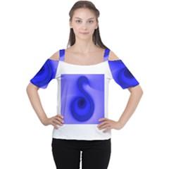 Blue Spiral Note Women s Cutout Shoulder Tee